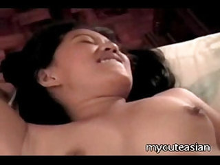 Hot asian slut nailed with lesbian by dildo