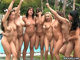 Group lesbian party outdoors