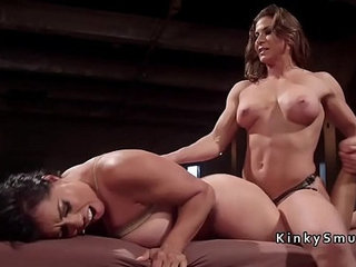 Lesbian slave rough anal fucked with strap