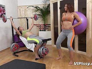 Piss drinking lesbians enjoy a wet workout